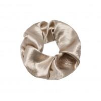 Satin scrunchie taupé/goud